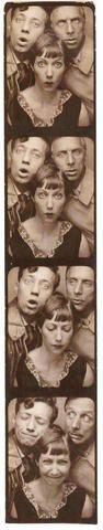 Фотооттиск из кабинки сценарист Жан Оренш, его сестра Мари и ее муж известный художник-авангардист Макс Эрнст, Париж 1929 год